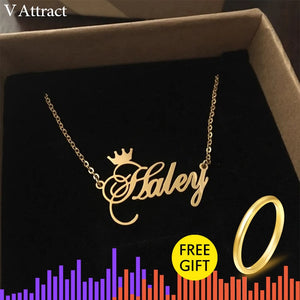 V Attract Best Friends Gift Personalized Name Necklace Women BFF Jewelry Custom Cursive Crown Choker Femme Rose Gold Collier
