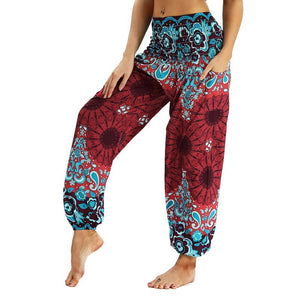 Casual Digital Printed Pants Full Length Elastic Waist Wide Loose Trousers Apparel Clothing With Pouch