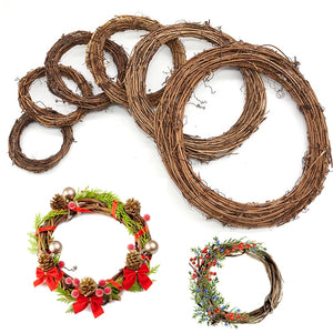 Merry Christms DIY Wreath Natural Rattan Easter Wreath Garland For New Year Wedding Party Hanging Decor Supplies Kids Favor Gift