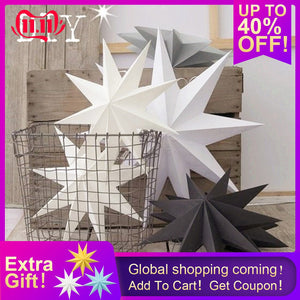 Folded paper star DIY Hanging Paper Star Happy New Year Decor Xmas Ornament 1Pcs 30cm 12''  Merry Christmas Decorations For Home