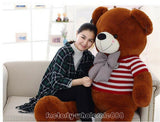 63'' Giant Valentine TEDDY BEAR Plush Soft Toy Birthday Doll Gift + Sweater C329 Cute Plush  Cotton  Cushion/Pillow