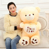 90/110cm BIG I Love You Teddy Bear  Stuffed Plush Toy Holding LOVE Heart Soft animal Doll Gift for Valentine Day Girls' Birthday