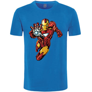 Marvel T Shirt Men Punk Superhero IronMan Tshirt In Action Labor Day 100% Cotton O Neck T-shirts Fashion Short Sleeve Tops Tees