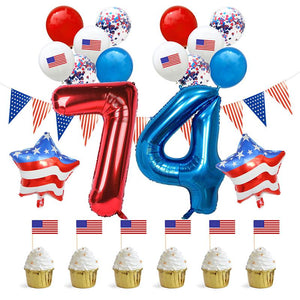 Party Decoration Star Letter 74 Balloon Party Confetti Balloons Cupcake topper Party Supplies for America US Independence Day