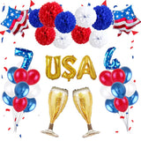 Independence Day Decoration Balloons Set Round Sequin Balloons Letter Foil Balloons DIY Festival Anniversary Party Supplies