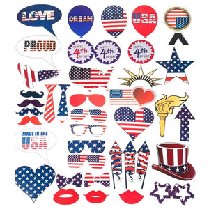 July 4th American Independence Day 40 Pieces Home Party Decoration Photo Prop Funny beard sunglasses Glue paper props