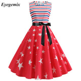 Women Summer Print A -line Party Dress Sleeveless Robe Vintage Pin Up Swivel 1950 S 60 S Retro Rockabilly Independence Day Dress
