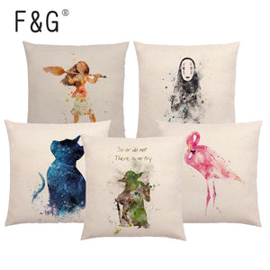 Cartoon Watercolor Cushion Cover Wild Jellyfish Thunderbird Cat Flamingo Magic Print Home Car Sofa Decoration Pillowcase