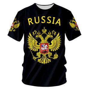 Custom S-7XL Russian T shirt Men Women Funny 3d Russia Flag Eagle Print Summer Casual T-shirt Unisex Hip Hop Punk Rock Tee Shirt