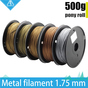 Hot!500g 3D Printer Metallic Filament,30% Of Metal Content Filaments -Brass /Bronze /Copper /Aluminum, 1.75