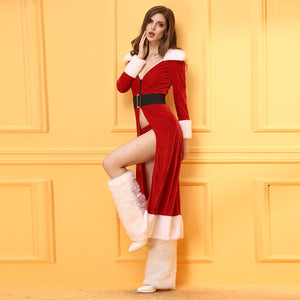 High Quality Sexy Christmas Lingerie Costumes Long Robe Dress Red Christmas Carnival Roleplay Sexy with Leggings For Women