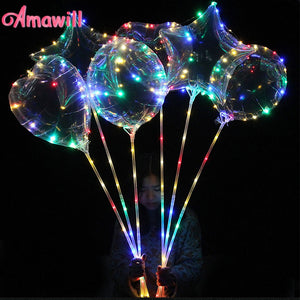 Amawill 1pc 18/24 Inch Luminous Led Balloons Transparent Helium Ballons Birthday Party Supplies Wedding Valentines Day Decor 75D