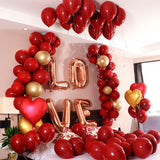 50 pc Metallic Red Heart Balloons Valentine Day & Wedding Party