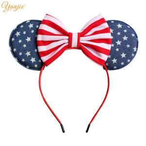 Girls 5'' 2019 Kids 4th Of July Striped Cotton/Denim Bow Hairband Independence Day Hair Accessories For Kid Headband New Arrival