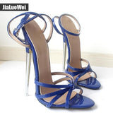 Fetish High Heels Sandals Women Fashion Ankle Strap Pointed Toe Shoes Metal Thin Heels Buckle Strap High-Heeled Unisex Shoes