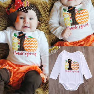 Thanksgiving Cute Cotton Autumn Infant Kids Baby Girl Boy Clothes Pumpkin Bodysuit Romper Sunsuit Outfits 0-12M