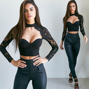 Women Apparel Summer style elegant black lace crochet crop top Girls Long sleeve Black blause Women sexy hollow out shirt tops