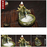 Backflow Incense Burner Holder Ceramic Zen Incense Waterfall Censer Base +10 Incense Cones Home Decoration Accessories
