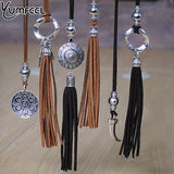 Yumfeel Vintage Women Pendants & Necklace Velvet Leather Long Tassel Necklace Jewelry Gifts Boho