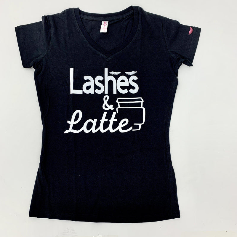 Lashes & Latte T-Shirt-shirt-Lash Tribe