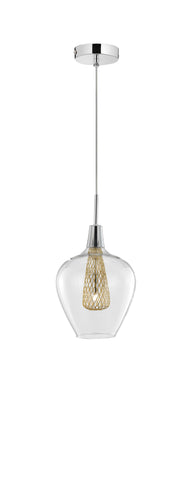 Clear Glass and Gold Mesh Single Pendant - ID 9364