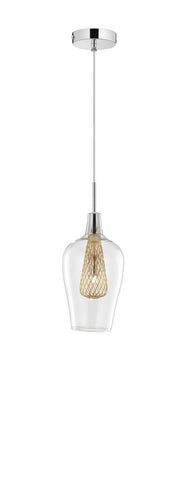 Clear Glass and Gold Mesh Single Pendant - ID 9365