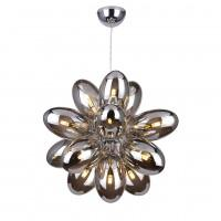 Smoked Glass & Chrome 16 Lamp Suspension Pendant - ID 8315