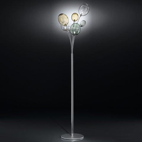 Ballon Bespoke Italian Flowing 5 Lamp Floor Light with Blown Glass - Colour Options