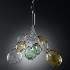 Ballon Bespoke Italian Flowing 6 Lamp Suspension with Blown Glass - Colour Options