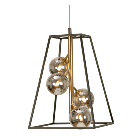 Fitzroy 4 Light Black & Gold Lantern With Smoked Globes - 6479