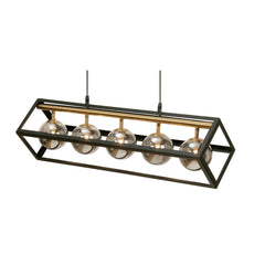 Fitzroy 5 Light Black & Gold Linear Bar Lantern With Smoked Globes - 9446