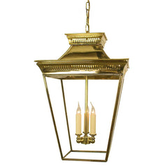 Classic Reproductions Kew 3 Light Solid Brass Large Lantern In Polished Brass Finish - ID 10352