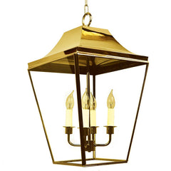 Classic Reproductions West 4 Light Solid Brass Large Lantern In Polished Brass Finish - ID 10347