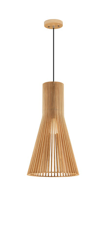 Norbury Natural Wood Large Semi-Conical Pendant With Black Fabric Wire & Wood Ceiling Rose - ID 8675