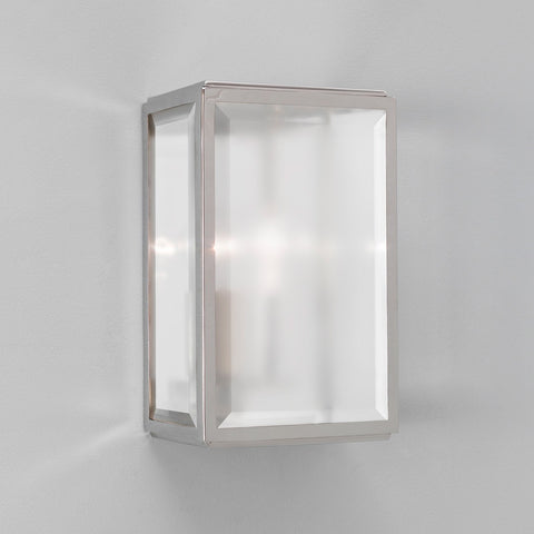 Homefield Polished Nickel Frosted Glass Outdoor Wall Light - London Lighting - 1