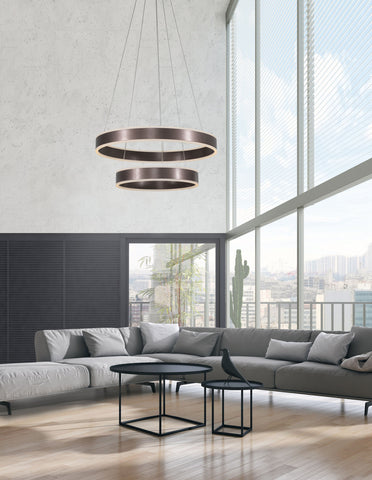 Ador Double Bronze Hoop LED Pendant - ID 8614