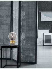 Smoked Grey Glass & Brass Globe Table Lamp - ID 8623