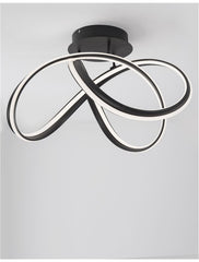 TRU Dimmable Sandy Black Aluminium & Acrylic Knot Ceiling Light - ID 10363
