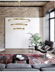 EMP Dimmable Brass Gold Aluminium & Acrylic Tripple Ring Pendant - ID 10197