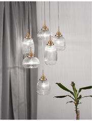 MON Clear Lined Enclosed Glass & Gold Metal 6 Light Multi Pendant - ID 10029