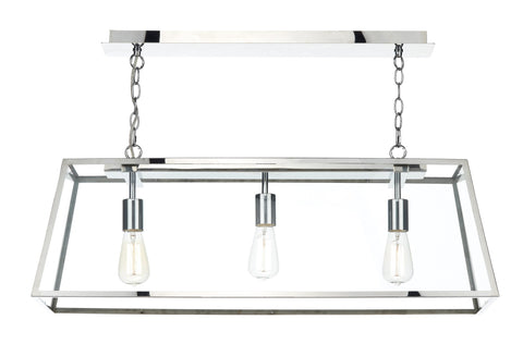 Academy Stainless Steel 3 Lamp Ceiling Light - London Lighting - 1