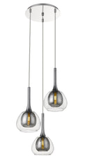 Smoked Grey & Clear Glass 3 Lamp Multi Pendant - ID 9802