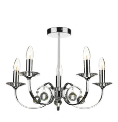 Allegra Polished Chrome 5 Lamp Ceiling Light - London Lighting - 1