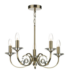 Allegra Antique Brass 5 Lamp Ceiling Light - London Lighting - 1