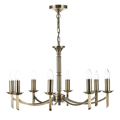 Ambassador Antique Brass 8 Arm Pendant Light - London Lighting - 1