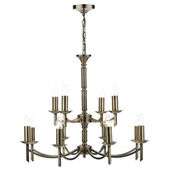 Ambassador Antique Brass 12 Arm Dual Mount Pendant Light - London Lighting - 1