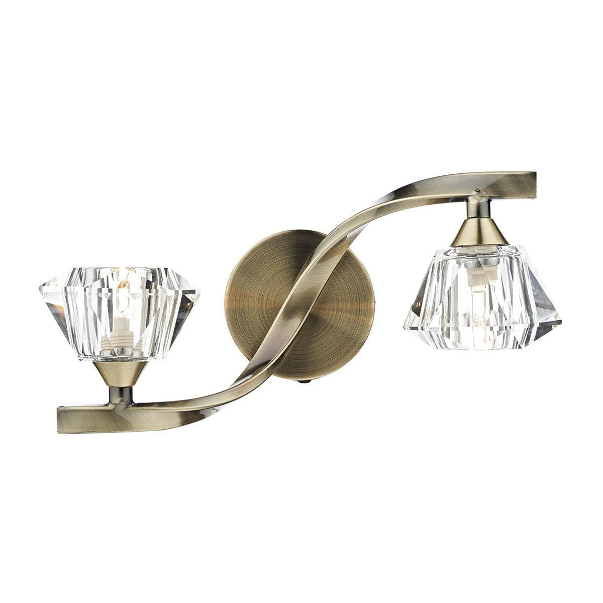 Mile End Antique Brass 2 Lamp Crystal Wall Bracket - ID 5997