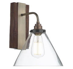 Wooden Style Wall Light with Clear Glass Shade - ID 10269