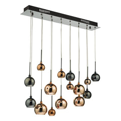 Hadrian 15 Lamp Bar Pendant In Black Chrome & Multi Colour - ID 9382