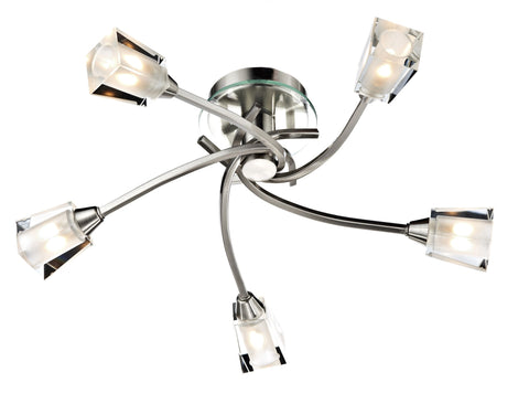 Austin Satin Chrome 5 Lamp Ceiling Light - London Lighting